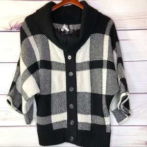 Plaid Oversized Cardigan Sweater by Joie